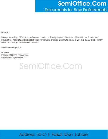Research proposal of a company letter